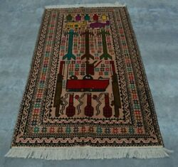 H292 Vintage Afghan Decor Wall Hanging Top Tank Pictorial War Rug 3and0397 X 6and0396 Ft