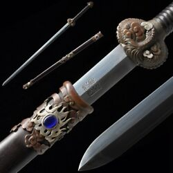 Hand Forged Pattern Steel Dragonsoul Sword Carved Pure Copper Fittings 5001