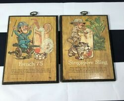 2 Ramon Glass Drink Recipe Hanging Wall Plaques French 75 Singapore Sling 1972