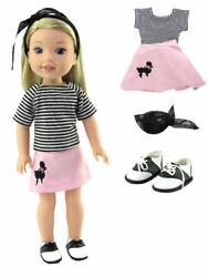 14.5quot; Doll Clothes 50#x27;s Poodle Skirt outfit Saddle Shoes fits Wellie Wisher $14.99