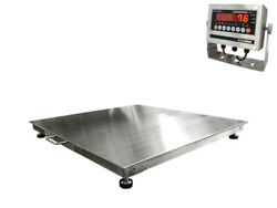 Stainless Steel Floor Scale W/ Indicator 2500 Lbs X .5 Lb 3and039 X 3and039 36x36