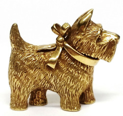 VINTAGE 18K YELLOW GOLD YORKSHIRE TERRIER CORGI DOR PIN BROOCH SIGNED 12.3 GRAMS