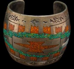 Stunning Heavy Vintage Sterling Silver Inlaid Turquoise And Coral Cuff Bracelet