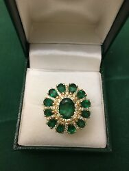 Vintage Antique 14k Gold Natural Colombian Emerald Diamond Ring