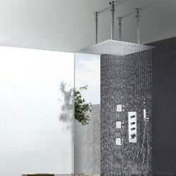 20 Inch Square Thermostatic Bathroom Shower Set In Wall Mounted Body Jets Shower