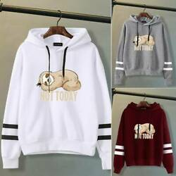Women Girls Cute Casual Hoodies Sloth Printed Hooded Sweatshirt Pullover Tops US