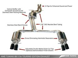 Awe Touring Edition Exhaust Diamond Black Tips 102mm For 13-16 Audi B8 S4 3.0t