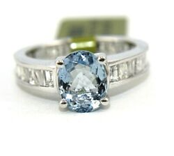 Oval Aquamarine And Baguette Diamond Solitaire Ladyand039s Ring 18k White Gold 4.52ct