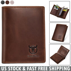 Mens Wallet Real Genuine Leather RFID Bifold Cards Photo Holder Purse for Gift