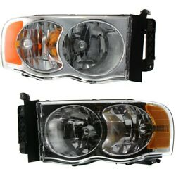 Headlight For 2003-2005 Dodge Ram 2500 Driver And Passenger Side Pair