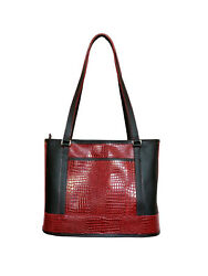 Willow Brook Red And Black Croco Leather Traveler's Tote