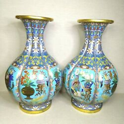 Antique A Pair Of Chinese Cloisonne Vases 19th-20th Century.