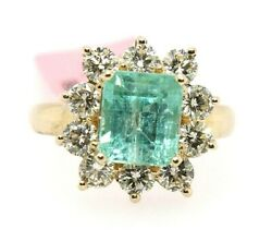 Colombian Emerald And Diamond Halo Square Solitaire Ring 14k Yellow Gold 4.34ct
