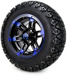 12 Aftershock Blue And Black Golf Cart Wheels And Tires 23x10.50-12 Set Of 4