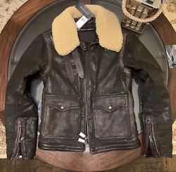 Black Label Sz Small Shearling Aviator Leather Jacket Made In Italy