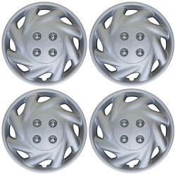 4 Pc Set Of 14 Inch Abs Silver Hub Caps Wheel Cover For Oem Steel Rim Caps