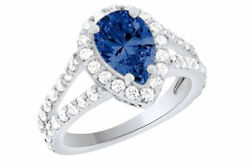 IGI CERTIFIED 2.88 Ct Pear Cut Blue Sapphire 14k Gold Halo Engagement Ring