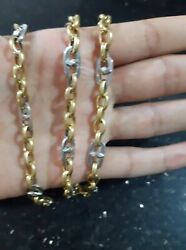 Rare Stamped 18k Solid Gold Two Colors Whiteyellow Chain Handmad N Italy Unisex