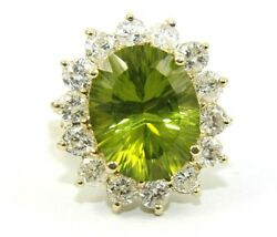 Natural Oval Green Peridot And Diamond Halo Solitaire Ring 14k Yellow Gold 10.68ct