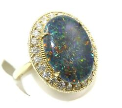 Oval Black Fire Opal And Diamond Halo Bezel Solitaire Ring 14k Yellow Gold 6.92ct