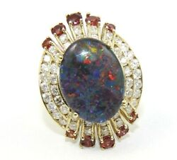 Oval Black Fire Opal And Diamond Halo Solitaire Ring 14k Yellow Gold 6.40ct