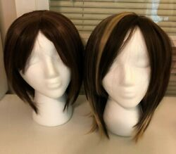 SYNTHETIC MEDIUM LENGTH BRUNETTE AUBURN WIGS - LOT OF 2 NEVER WORN + WIG STANDS
