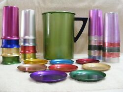 Vintage Collectible Aluminum Pitcher, Tumblers And Coasters