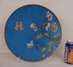 Antique French Ceramic Handpainted Decorative Flowers Plate 19th C. Signed