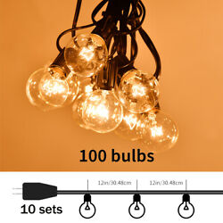 10x 100FT G40 Bulb String Light Filament Outdoor Patio Globe Party String Lights