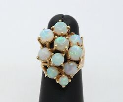 Vintage Ladies Opals 14k Yellow Gold Cocktail Cluster Ring