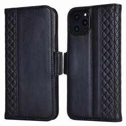 For Iphone 11 Pro Max Case Genuine Leather Flip Case With Rfid Blocking