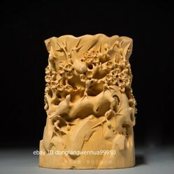 China Wood Boxwood Hand Carved Emboss Plum Flower Bird Brush Pots Pen Container