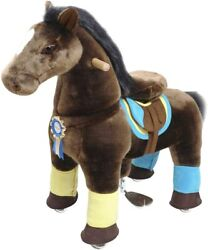 Ponycycle Official K Chocolate Brown Ride On Horse Toy Plush Medium Age 4-9, K45