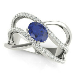 New Ladies 14k White Gold Diamond And Blue Sapphire Oval Open Shank Knuckle Ring