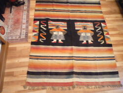 Vintage Large Thick Multi Color Sewn Down The Middle American Southwest Blanket