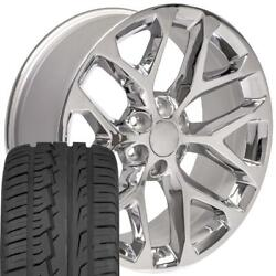 5668 Chrome 22 Wheels And 285/45 Tires Set Fit Gmc Chevrolet Cadillac