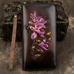 New Women Genuine Cow Leather Long Wallet Purse Clutch Cards Flowers Embossed $26.99
