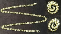 FINE JEWELRY 18K GOLD LONG CHAIN NECKLACE AND PAIR OF EAR CLIPS 94 GRAMS
