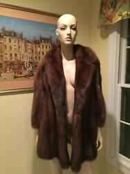Natural Silver Tipped Russian Barguzin Sable Fur Coat 8 Petite Medium 30