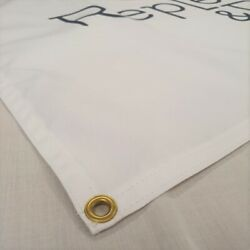 100 Natural Cotton Custom Fabric Banner With Hems And Eyelets.