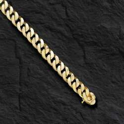 10k Solid Yellow Gold Handmade Curb Link Menand039s Bracelet 8 Mm 9 50 Grams