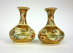 Two Fine Vases Satsuma About 1860 Japan