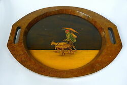 Tray With Inlaid Wood Italy 19 Jh Goat