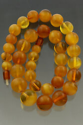 Vintage Antique Genuine Baltic Amber Large Round Bead Necklace 73g 191105-1