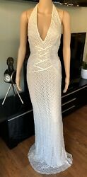 NWT Gianni Versace S/S 2002 Plunging Backless Semi Sheer Lace Ivory Dress Gown