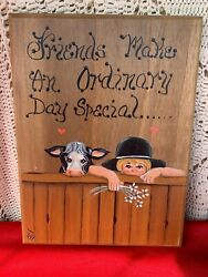 Vintage ❤️ Amish Boy And His Holstein Cow Handpainted Art Sign Wall Plaque ❤️sj7m