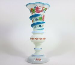 Vase Alabaster Glass Hand Painting Snake Flowers Schachtenbach About 1840 -1860