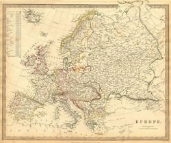 Europe. General Map. Inset Table Of Population And Density By Country . Sduk 1844