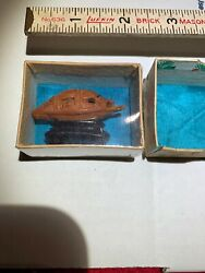 Fruit Pit Carving Boat Poem Chinese Export China New In Box