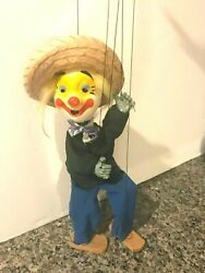 Vintage 1990's Handmade 14 Mexican Marionette Clown Face String Puppet